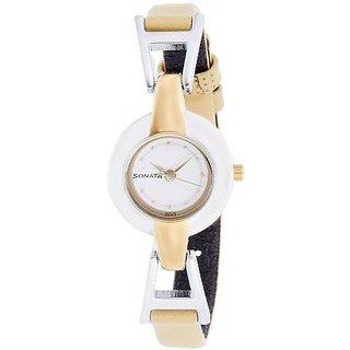 Sonata Analog White Round Watch -8979BL01