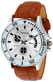 Golden Bell Original Silver Dial Brown Strap Analog Wrist Watch for Men - GB-381 6 month warranty