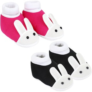 NeskaModa Pack Of 2 Pink And Black Anti-Slip Baby Booties For 18 To 24 Months