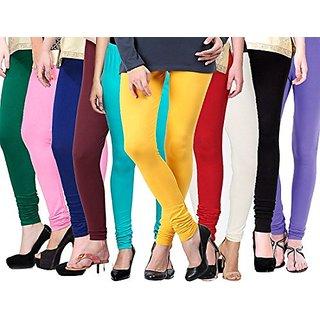 (PACK OF 10) Premium Cotton Churidar Leggings - FREE SIZE - Assorted-color