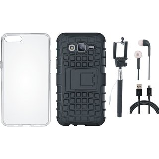 Vivo Y55 Dual Protection Defender Back Case with Silicon Back Cover, Selfie Stick, Earphones and USB Cable