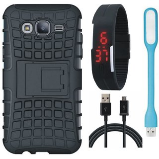 Vivo Y55 Shockproof Tough Defender Cover with Digital Watch, USB LED Light and USB Cable
