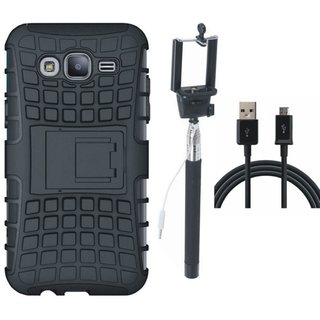 Vivo Y55 Shockproof Tough Defender Cover with Selfie Stick and USB Cable