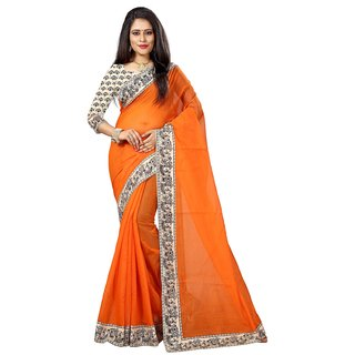 Indian Style Sarees New Arrivals Latest Women's Orange Color Chanderi Cotton Kalamkari Print Border With Kalamkari Blouse
