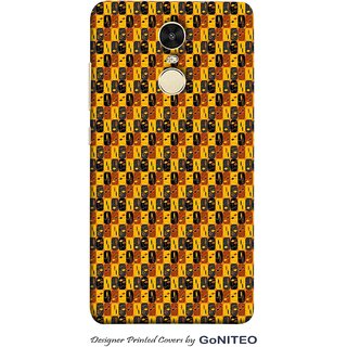 Printed Mobile Phone Back Cover Case for Redmi Note 4 by GoNITEO || Yellow || Brown || Black ||