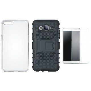 Vivo Y55 Shockproof Tough Defender Cover with Silicon Back Cover, Tempered Glass