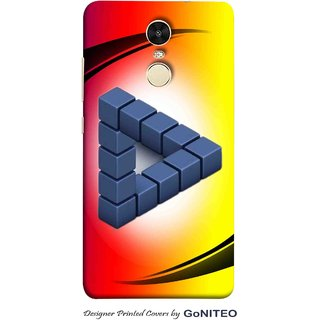 Printed Mobile Phone Back Cover Case for Redmi Note 4 by GoNITEO || 3d Triangle || Red || Yellow ||