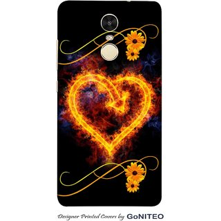 Printed Mobile Phone Back Cover Case for Redmi Note 4 by GoNITEO || Burning Heart || Love  || Black ||