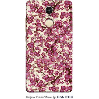 Printed Mobile Phone Back Cover Case for Redmi Note 4 by GoNITEO || Magenta || Flowers || White ||