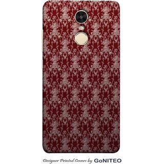 Printed Mobile Phone Back Cover Case for Redmi Note 4 by GoNITEO || Maroon || Flowers || Brown ||
