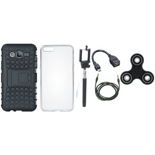 Vivo Y55 Defender Back Cover with Kick Stand with Spinner, Silicon Back Cover, Selfie Stick, OTG Cable and AUX Cable
