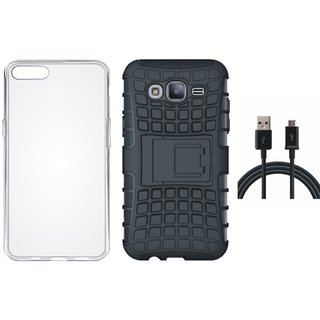 Vivo Y55 Shockproof Tough Defender Cover with Silicon Back Cover, USB Cable