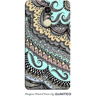 Printed Mobile Phone Back Cover Case for Redmi Note 4 by GoNITEO || Rangoli  || Art || Blue ||