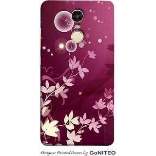 Printed Mobile Phone Back Cover Case for Redmi Note 4 by GoNITEO    Flower    Leaves    Magenta   