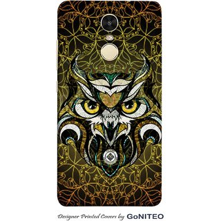 Printed Mobile Phone Back Cover Case for Redmi Note 4 by GoNITEO || Nighty Owl || Golden || Green ||
