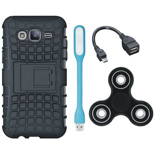 Vivo Y55 Shockproof Tough Defender Cover with Spinner, USB LED Light and OTG Cable