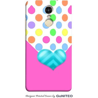 Printed Mobile Phone Back Cover Case for Redmi Note 4 by GoNITEO || Heart || Pink || Gift ||