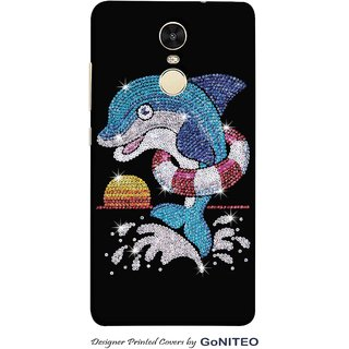 Printed Mobile Phone Back Cover Case for Redmi Note 4 by GoNITEO || Dolphin || Bling || Black ||