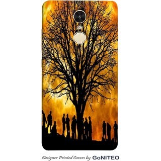 Printed Mobile Phone Back Cover Case for Redmi Note 4 by GoNITEO || Sun  || Tree || People ||