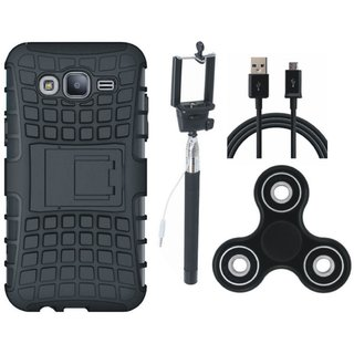 Vivo Y55 Shockproof Tough Defender Cover with Spinner, Selfie Stick and USB Cable