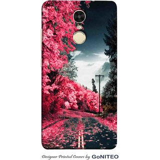 Printed Mobile Phone Back Cover Case for Redmi Note 4 by GoNITEO || Road || Night || Red ||