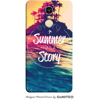 Printed Mobile Phone Back Cover Case for Redmi Note 4 by GoNITEO || Summer || Story || Holiday ||