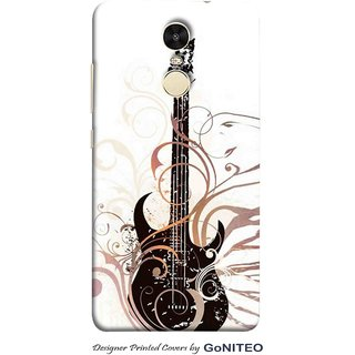 Printed Mobile Phone Back Cover Case for Redmi Note 4 by GoNITEO || Guitar  || Musical || White ||