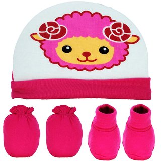 Baby Mittens, Booties with Cap Set 3 Pcs Combo