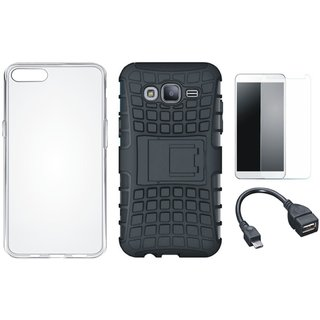 Oppo A37F Defender Tough Hybrid Shockproof Cover with Silicon Back Cover, Tempered Glass and OTG Cable