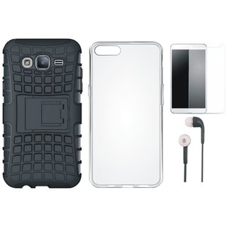 Oppo A37F Shockproof Tough Armour Defender Case with Silicon Back Cover, Earphones and Tempered Glass