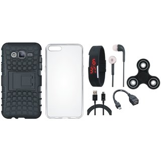 Oppo A83 Defender Tough Armour Shockproof Cover with Spinner, Silicon Back Cover, Digital Watch, Earphones, OTG Cable and USB Cable