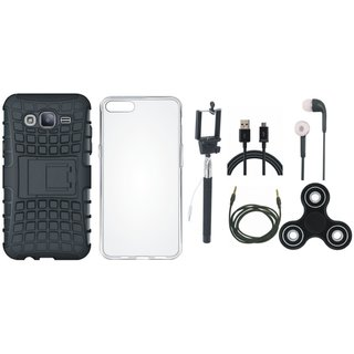 Oppo A83 Defender Tough Armour Shockproof Cover with Spinner, Silicon Back Cover, Selfie Stick, Earphones, USB Cable and AUX Cable