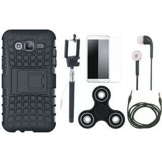 Oppo A37F Shockproof Tough Armour Defender Case with Free Spinner, Selfie Stick, Tempered Glass, Earphones and AUX Cable