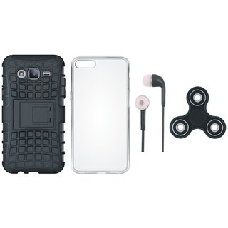 Oppo A37F Shockproof Tough Armour Defender Case with Spinner, Silicon Back Cover and Earphones