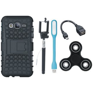 Oppo A37F Shockproof Tough Armour Defender Case with Spinner, Selfie Stick, LED Light and OTG Cable