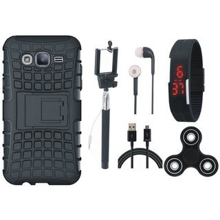 Oppo A37F Shockproof Tough Armour Defender Case with Spinner, Selfie Stick, Digtal Watch, Earphones and USB Cable