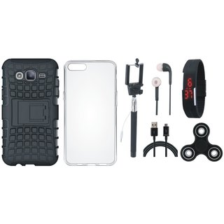 Oppo A37F Shockproof Tough Armour Defender Case with Spinner, Silicon Back Cover, Selfie Stick, Digtal Watch, Earphones and USB Cable