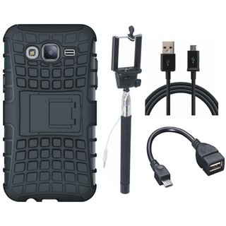 Oppo A37F Shockproof Kick Stand Defender Back Cover with Selfie Stick, OTG Cable and USB Cable