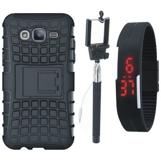 Oppo A37F Shockproof Kick Stand Defender Back Cover with Selfie Stick and Digtal Watch
