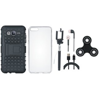 Oppo A37F Shockproof Tough Armour Defender Case with Spinner, Silicon Back Cover, Selfie Stick, Earphones and USB Cable