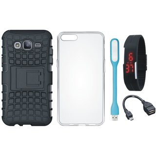 Oppo A37F Shockproof Kick Stand Defender Back Cover with Silicon Back Cover, Digital Watch, OTG Cable and USB LED Light