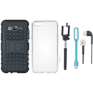 Oppo A37F Shockproof Kick Stand Defender Back Cover with Silicon Back Cover, Selfie Stick, Earphones and USB LED Light