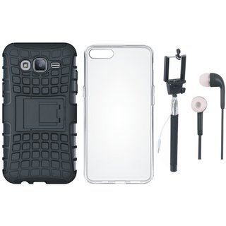 Oppo A37F Shockproof Kick Stand Defender Back Cover with Silicon Back Cover, Selfie Stick and Earphones