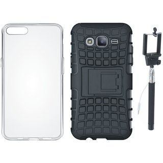 Oppo A37F Shockproof Kick Stand Defender Back Cover with Silicon Back Cover, Free Silicon Back Cover and Selfie Stick