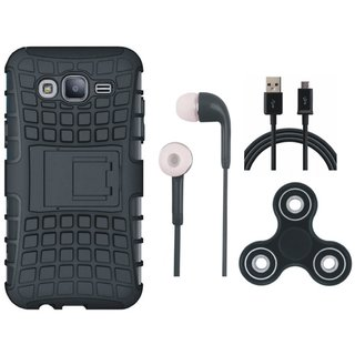 Oppo A37F Shockproof Kick Stand Defender Back Cover with Spinner, Earphones and USB Cable