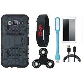 Oppo A37F Shockproof Kick Stand Defender Back Cover with Free Spinner, Digital LED Watch, Tempered Glass, LED Light and USB Cable