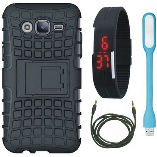 Oppo A83 Shockproof Kick Stand Defender Back Cover with Digital Watch, USB LED Light and AUX Cable