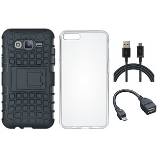 Oppo A83 Shockproof Kick Stand Defender Back Cover with Silicon Back Cover, OTG Cable and USB Cable
