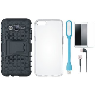 Oppo A83 Shockproof Kick Stand Defender Back Cover with Silicon Back Cover, Tempered Glass, Earphones and USB LED Light