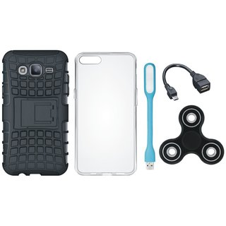 Samsung On7 Prime Defender Tough Hybrid Shockproof Cover with Spinner, Silicon Back Cover, USB LED Light and OTG Cable